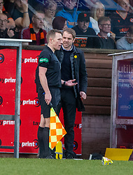 Dundee United's manager Robbie Neilson  argues with the linesman. Dundee United 1 v 1 Partick Thistle, Scottish Championship game played 7/3/2020 at Dundee United's stadium Tannadice Park.