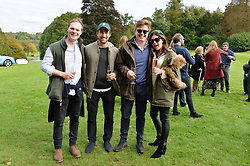 Jolyon Coates, George Sanders, Edward Hadsley-Chaplin and Natasha Kingham at Young Guns raising money for the fight against breast cancer trough Cancer Research UK held at EJ Churchill Shooting School followed by lunch at West Wycombe Park, England. 23 September 2017.