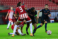 PIRAEUS, GREECE - NOVEMBER 25: Action during the UEFA Champions League Group C stage match between Olympiacos FC and Manchester City at Karaiskakis Stadium on November 25, 2020 in Piraeus, Greece. (Photo by MB Media)