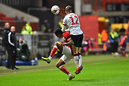 Niclas Eliasson (19) of Bristol City is fouled by Craig Noone (12) of Bolton Wanderers during the The FA Cup fourth round match between Bristol City and Bolton Wanderers at Ashton Gate, Bristol, England on 25 January 2019.