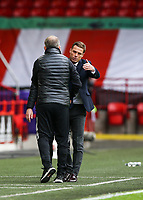Fulham manager Scott Parker and Sheffield United manager Chris Wilder shake hands at the end of the game<br /> <br /> Photographer Lee Parker/CameraSport<br /> <br /> The Premier League - Sheffield United v Fulham - Sunday 18th October 2020 - Bramall Lane - Sheffield<br /> <br /> World Copyright © 2020 CameraSport. All rights reserved. 43 Linden Ave. Countesthorpe. Leicester. England. LE8 5PG - Tel: +44 (0) 116 277 4147 - admin@camerasport.com - www.camerasport.com