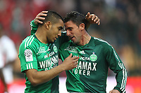 FOOTBALL - FRENCH CHAMPIONSHIP 2010/2011 - L1 - AS SAINT ETIENNE v AS NANCY - 16/04/2011 - PHOTO ERIC BRETAGNON / DPPI - JOY DIMITRI PAYET (ASSE) / ALONSO (ASSE)