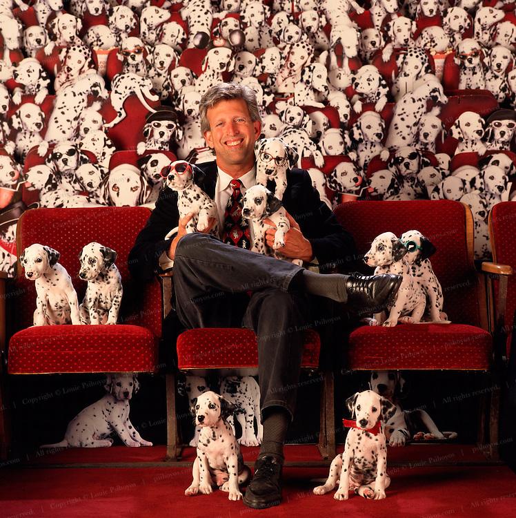 Joe Roth, Chairman, The Walt Disney Studios on the set of 101 Dalmations.