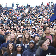 NEW HAVEN, CONNECTICUT - NOVEMBER 18: Yale supporters during the Yale V Harvard, Ivy League Football match at the Yale Bowl. Yale won the game 24-3 to win their first outright league title since 1980. The game was the 134th meeting between Harvard and Yale, a historic rivalry that dates back to 1875. New Haven, Connecticut. 18th November 2017. (Photo by Tim Clayton/Corbis via Getty Images)