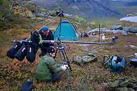 Camera crew from Gulo films setting up crane for filming, Sarek National Park, Laponia World Heritage Site, Sweden