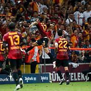 Galatasaray's Burak Yilmaz (N17) celebrates his goal during their Turkish Super League soccer match Galatasaray between Bursaspor at the TT Arena at Seyrantepe in Istanbul Turkey on Sunday 02 September 2012. Photo by TURKPIX