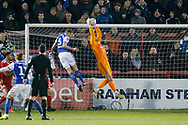 Accrington Stanley goalkeeper Connor Ripley (30) catches a cross during the The FA Cup 3rd round match between Accrington Stanley and Ipswich Town at the Fraser Eagle Stadium, Accrington, England on 5 January 2019.