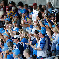 Jun 24, 2013; Omaha, NE, USA; UCLA Bruins fans cheer before game 1 of the College World Series finals against the Mississippi State Bulldogs at TD Ameritrade Park. Mandatory Credit: Derick E. Hingle-USA TODAY Sports