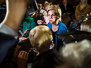 03 MAY 2019 - AMES, IOWA: Sen. ELIZABETH WARREN talks to reporters after her campaign appearance at Iowa State University in Ames. Sen. Warren is campaigning in Iowa Friday and Saturday to promote her bid to be the Democratic candidate for the US Presidency. Iowa traditionally hosts the the first selection event of the presidential election cycle. The Iowa Caucuses will be on Feb. 3, 2020.              PHOTO BY JACK KURTZ