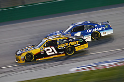 July 13, 2018 - Sparta, Kentucky, United States of America - Daniel Hemric (21) and Elliott Sadler (1) battle for position during the Alsco 300 at Kentucky Speedway in Sparta, Kentucky. (Credit Image: © Chris Owens Asp Inc/ASP via ZUMA Wire)