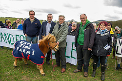 Pictured: Andrew Stoddard (who had his farm bought from under his feet a few years ago),Andy Wightman. Farm owner Jim Telfer,  Ian Baxter and Mary Begbie, Jim Telfer's daughter who hope to take over the farm<br /> <br /> The Scottish Green Party's Andy Wightman, MSP, joined local election candidate Ian Baxter at the proposed site of a new film studio in Edinburgh ahead of the local council elections.<br /> Ger Harley | EEm 17 April 2017