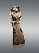 12 dynasty Egyptian statue of king Amenemhet III praying. 1840-1800 BC, Memphis. Neues  Museum, Berlin. Cat No AM1121