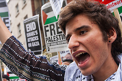 London, July 5th 2014. Hundreds protest near the Israeli embassy in London against the ongoing occupation and the west's support of Israel's collective punishment of Palestinians