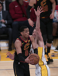 March 11, 2018 - Los Angeles, California, U.S - Jordan Clarkson #8 of the Cleveland Cavaliers drives against Travis Wear #21 of the Los Angeles Lakers during their NBA game on Sunday March 11, 2018 at the Staples Center in Los Angeles, California. Lakers defeat Cavaliers, 127-113. (Credit Image: © Prensa Internacional via ZUMA Wire)