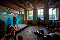 © Licensed to London News Pictures. 18/05/2017. Halifax, UK.  British Prime Minister THERESA MAY speaking at the launch event for the Conservative Party manifesto at The Arches in Halifax, West Yorkshire. The Conservatives are the last of the three main parties to launch their manifesto ahead of a snap general election called for June 8, 2017. Photo credit: Ben Cawthra/LNP