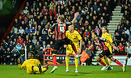 Dan Gosling scores during the Capital One Cup match between Bournemouth and Liverpool at the Goldsands Stadium, Bournemouth, England on 17 December 2014.