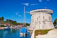 Croatie, Dalmatie, côte dalmate, centre historique de Trogir classé Patrimoine Mondial de l' UNESCO, Tour Saint Marc // Croatia, Dalmatia, Trogir, Unesco world Heritage site, Saint Marc tower