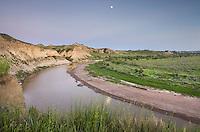 Moon over the Little Missouri River, Theodore Rossevelt National Park, North Dakota