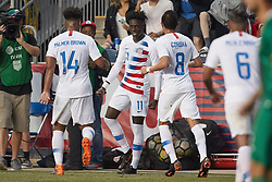 May 28, 2018 - Chester, PA, U.S. - CHESTER, PA - MAY 28: United States midfielder Tim Weah (11) celebrates with teammates after scoring a goal in the second half of the international friendly match between the United States and Bolivia at the Talen Energy Stadium on May 28, 2018 in Chester, Pennsylvania. (Photo by Robin Alam/Icon Sportswire) (Credit Image: © Robin Alam/Icon SMI via ZUMA Press)