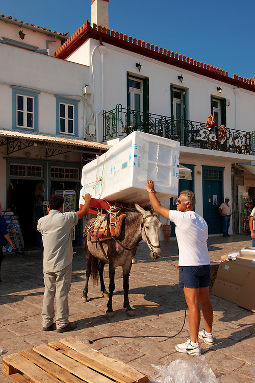 Pack Pony moving a fridge on Hydra,  Greek Saronic Islands. .<br /> <br /> Visit our GREEK HISTORIC PLACES PHOTO COLLECTIONS for more photos to download or buy as wall art prints https://funkystock.photoshelter.com/gallery-collection/Pictures-Images-of-Greece-Photos-of-Greek-Historic-Landmark-Sites/C0000w6e8OkknEb8