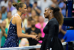 September 4, 2018 - Karolina Pliskova of the Czech Republic & Serena Williams of the United States at the net after their quarter-final match at the 2018 US Open Grand Slam tennis tournament. New York, USA. September 04, 2018. (Credit Image: © AFP7 via ZUMA Wire)