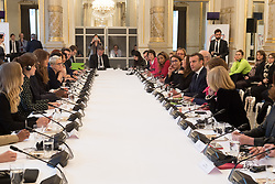 Emma Watson, Denis Mukwege, French Minister in charge of Equality between Men and Women Marlene Schiappa, Wided Bouchamaoui, Philippe Etienne, Emmanuel and Brigitte Macron, Alice Albright and Jamie Mc Court during the first meeting of the G7 Gender Equality Advisory Council in Paris, France, on February 19, 2019. Photo by Jacques Witt/Pool/ABACAPRESS.COM