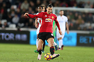 Zlatan Ibrahimovic of Manchester Utd in action.Premier league match, Swansea city v Manchester Utd at the Liberty Stadium in Swansea, South Wales on Sunday 6th November 2016.<br /> pic by  Andrew Orchard, Andrew Orchard sports photography.