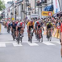 Edvald Boasson Hagen vant i Kristiansand under Tour of Norway sykkelritt etappe 2: Lyngdal - Kristiansand. Her ser vi Alexsander Kristoff komme til mål.