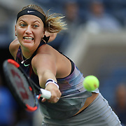2017 U.S. Open Tennis Tournament - DAY FIVE. Petra Kvitova of the Czech Republic in action against Caroline Garcia of France during the Women's Singles round three match at the US Open Tennis Tournament at the USTA Billie Jean King National Tennis Center on September 01, 2017 in Flushing, Queens, New York City.  (Photo by Tim Clayton/Corbis via Getty Images)
