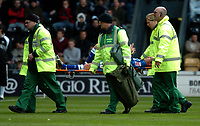 Photo: Ian Hebden.<br />Derby County v Millwall. Coca Cola Championship. 08/04/2006.<br />Millwall's Jody Morris is stretchered off.