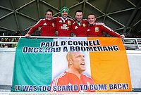 25 June 2013; British & Irish Lions supporters with their Paul O'Connell flag, from left, Ian Rooney, from Model Farm Road, Cork, Mark Bane, from Galway City, David Cahill, from Rathmore, Co. Kerry, and Ronan Walsh, from Mitchelstown, Cork. British & Irish Lions Tour 2013, Melbourne Rebels v British & Irish Lions. AAMI Park, Olympic Boulevard, Melbourne, Australia. Picture credit: Stephen McCarthy / SPORTSFILE