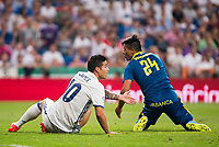 Real Madrid's player James Rodriguez and Celta de Vigo's player Facundo Roncaglia during a match of La Liga Santander at Santiago Bernabeu Stadium in Madrid. August 27, Spain. 2016. (ALTERPHOTOS/BorjaB.Hojas)