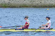 Reading. United Kingdom.  GBR W2-. Ro BRADBURY and Olivia CARNEGIE-BROWN, in the opening strokes of the morning time trial. 2014 Senior GB Rowing Trails, Redgrave and Pinsent Rowing Lake. Caversham.<br /> <br /> 10:44:28  Saturday  19/04/2014<br /> <br />  [Mandatory Credit: Peter Spurrier/Intersport<br /> Images]