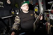 Statik Selektah inside his Brooklyn studio