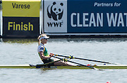 Varese. ITALY.  AUS W1X, Kim CROW, winning the final and taking the gold medal at the 2015 FISA World Cup II Venue Lake Varese. Sunday  21/06/2015 [Mandatory Credit: Peter Spurrier/Intersport images] .   Empacher.