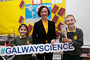 12/11/2018 Repro free: Galway Science and Technology Festival, the largest science event in Ireland, runs from 11-25 November featuring exciting talks, workshops and special events. Full programme at GalwayScience.ie. <br /> Anne Casserly Manager Galway Science & Technology Festival  with Lauren Ní Loinsigh-Ní Chartaigh and Thomas Mac an Ghoill from Scoil Fhursa who learned all about rockets and force and wind power . Photo:Andrew Downes, Xposure.