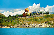 10th century Armenian Orthodox Cathedral of the Holy Cross on Akdamar Island, Lake Van Turkey 46 .<br /> <br /> If you prefer to buy from our ALAMY PHOTO LIBRARY  Collection visit : https://www.alamy.com/portfolio/paul-williams-funkystock/lakevanturkey.html<br /> <br /> Visit our TURKEY PHOTO COLLECTIONS for more photos to download or buy as wall art prints https://funkystock.photoshelter.com/gallery-collection/3f-Pictures-of-Turkey-Turkey-Photos-Images-Fotos/C0000U.hJWkZxAbg