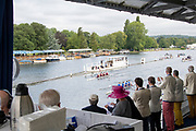 Henley-On-Thames, Berkshire, UK.,  Saturday, 14.08.21,   General View, from behind the race commentators, Floating Grandstand, 2021 Henley Royal Regatta,  River Thames, Thames Valley, Henley Reach, [Mandatory Credit ©Karon PHILLIPS/Intersport Images],