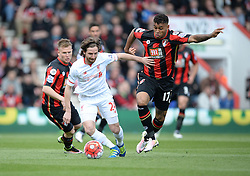 Joe Allen of Liverpool battles for the ball with Joshua King of Bournemouth - Mandatory by-line: Alex James/JMP - 17/04/2016 - FOOTBALL - Vitality Stadium - Bournemouth, England - AFC Bournemouth v Liverpool - Barclays Premier League
