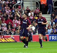 Photo: Greig Cowie,  Digitalsport<br />27/09/2003.<br />FA Barclaycard Premiership. Southampton v Middlesbrough, The St Marys Stadium.<br />Malcolme Christie celebrates