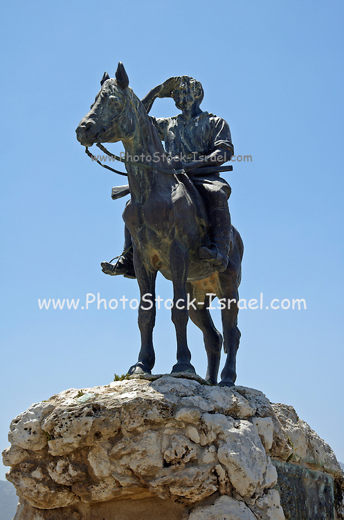 """Statue of Alexander Zeid, Hashomer, Galilee, Israel. The legendary guard Alexander Zeid, who lived and guarded over the lands of the Jewish National Fund (KKL) in the Yizrael valey, Israel. Hashomer - (""""The Guard"""") - Jewish defense organization in Palestine organized 1909, ceased to operate after founding of the Haganah in 1920. The purpose of Hashomer was to provide guard services for Jewish settlements,"""