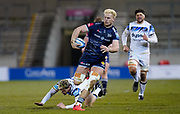 Sale Sharks flanker Jean-Luc Du Preez makes a break during a Gallagher Premiership Round 9 Rugby Union match, Friday, Feb 12, 2021, in Leicester, United Kingdom. (Steve Flynn/Image of Sport)
