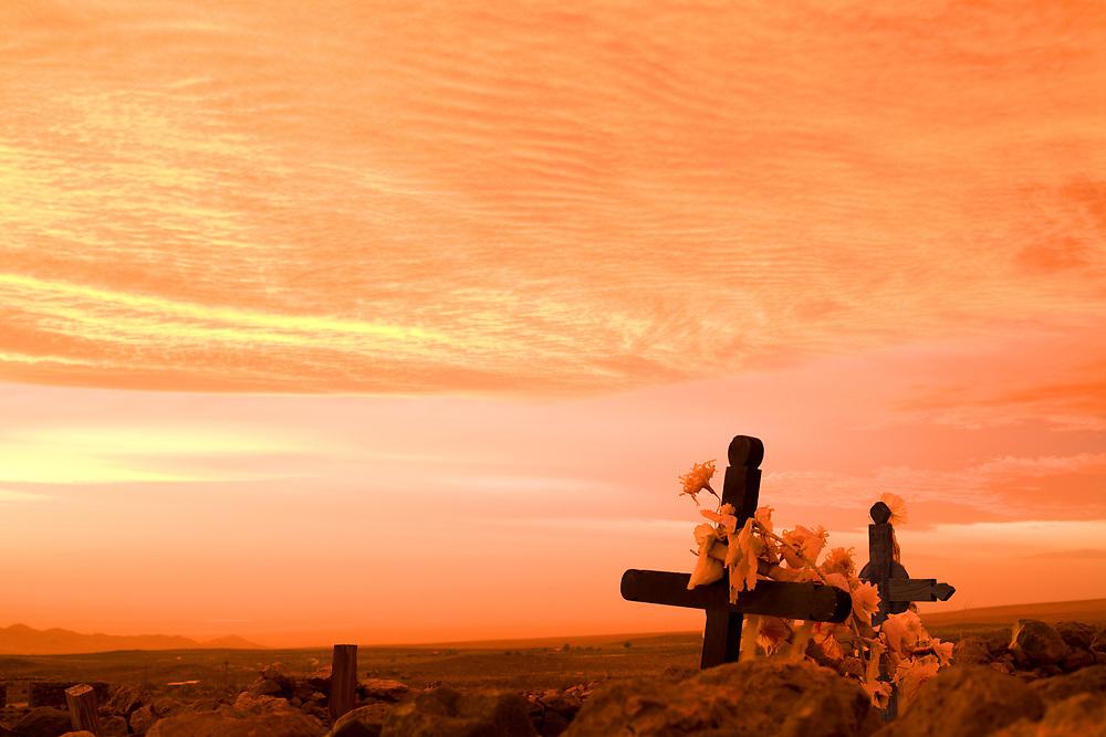 Crosses in the cemetery of Socaire, Atacama desert, Antofagasta Region, Chile, South America