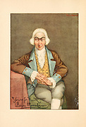 Portrait of Baron Munchausen from Mr. Munchausen; being a true account of some of the recent adventures beyond the Styx of the late Hieronymus Carl Friedrich, sometime Baron Munchausen of Bodenwerder, as originally reported for the Sunday edition of the Gehenna Gazette by its special interviewer the late Mr. Ananias formerly of Jerusalem and now first transcribed from the columns of that journal. by Bangs, John Kendrick, (1862-1922) Published in Boston by Noyes, Platt & company 1901 with artwork by Peter Newell