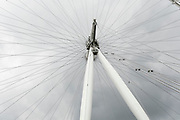 London Eye on a cloudy sky day on 26th May 2021 in London, United Kingdom. The lastminute.com London Eye, or the Millennium Wheel, is a cantilevered observation wheel on the South Bank of the River Thames in London. It is Europes tallest cantilevered observation wheel, and is the most popular paid tourist attraction in the United Kingdom with over 3 million visitors annually.
