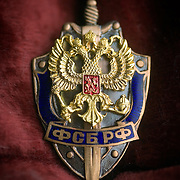 A badge worn by officers of Russia's Federal Security Bureau (FSB). The secret service organisation is the successor to the notorious KGB.