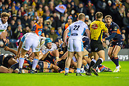 Referee Mike Adamson gives a penalty try to Edinburgh  during the 1872 Cup second leg Guinness Pro14 2019_20 match between Edinburgh Rugby and Glasgow Warriors at BT Murrayfield Stadium, Edinburgh, Scotland on 28 December 2019.