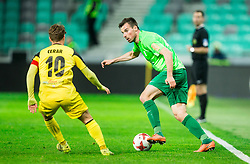 Luka Cerar of Radomlje vs Dino Stiglec of NK Olimpija during football match between NK Olimpija Ljubljana and NK Kalcer Radomlje in Round #29 of Prva liga Telekom Slovenije 2016/17, on April 17, 2017 in SRC Stozice, Ljubljana, Slovenia. Photo by Vid Ponikvar / Sportida