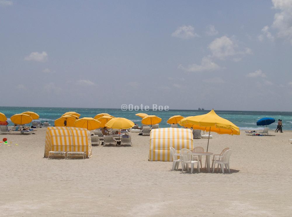 Beach chairs and umbrellas Miami Beach USA