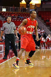 26 November 2016:  Quentin Ruff watched by Paul Janssen during an NCAA  mens basketball game between the Ferris State Bulldogs the Illinois State Redbirds in a non-conference game at Redbird Arena, Normal IL